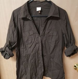 3/4 sleeve brown button up blouse